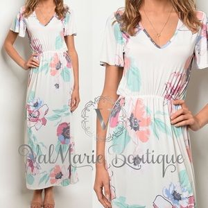White stretchy floral maxi